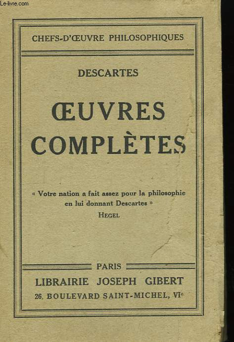 Oeuvres Complètes. TOME I