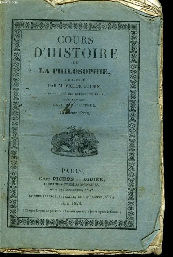 Cours d'Histoire de la Philosophie. 9ème leçon.