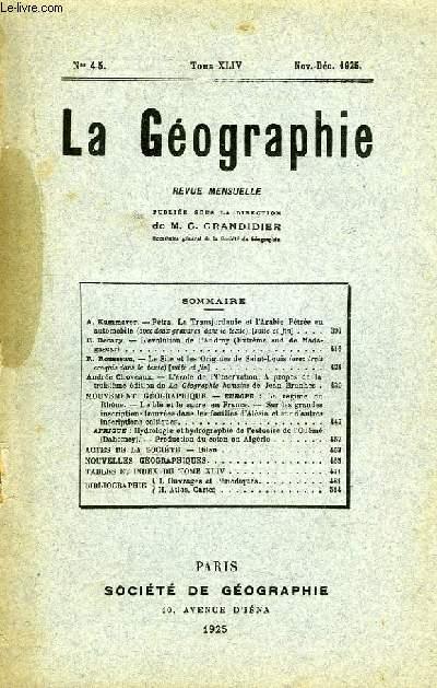 La Géographie n°4-5, TOME XLIV
