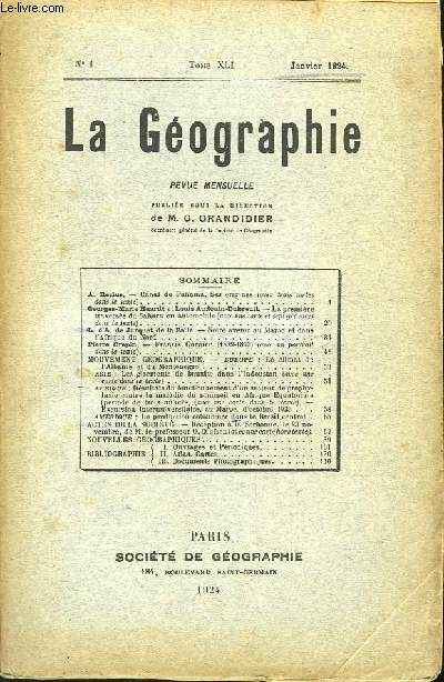 La Géographie n°1, TOME XLI