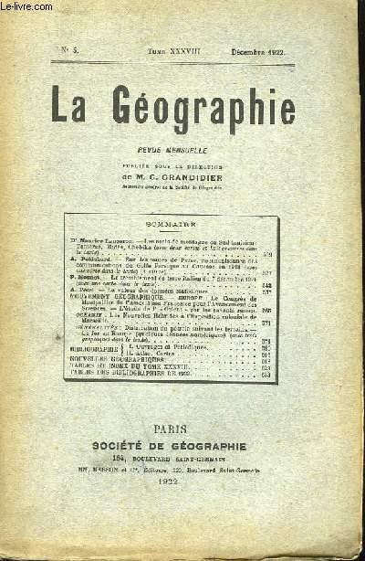 La Géographie n°5, TOME XXXVIII