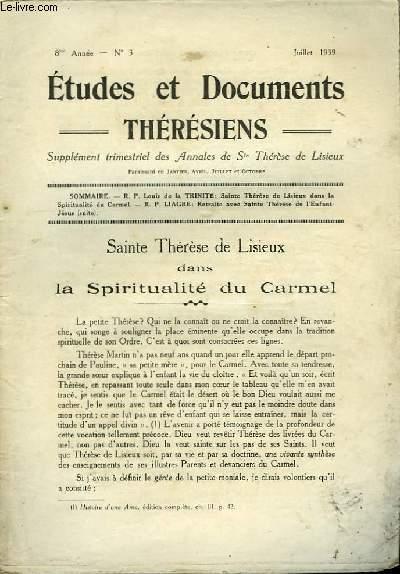 Etudes et Documents Thérésiens n°3, 8ème année.