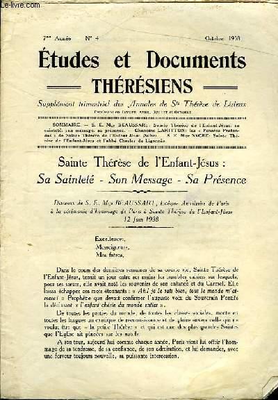 Etudes et Documents Thérésiens n°4, 7ème année