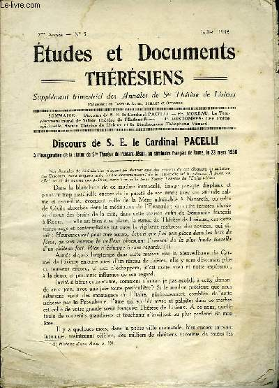 Etudes et Documents Thérésiens n°3, 7ème année.