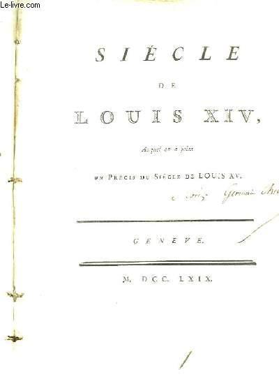 Collection Complète des Oeuvres Mr. de Voltaire. TOME XI : Siècle de Louis XIV