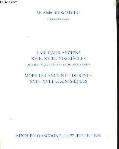 Tableaux Anciens XVIIè, XVIIIè, XIXè siècles