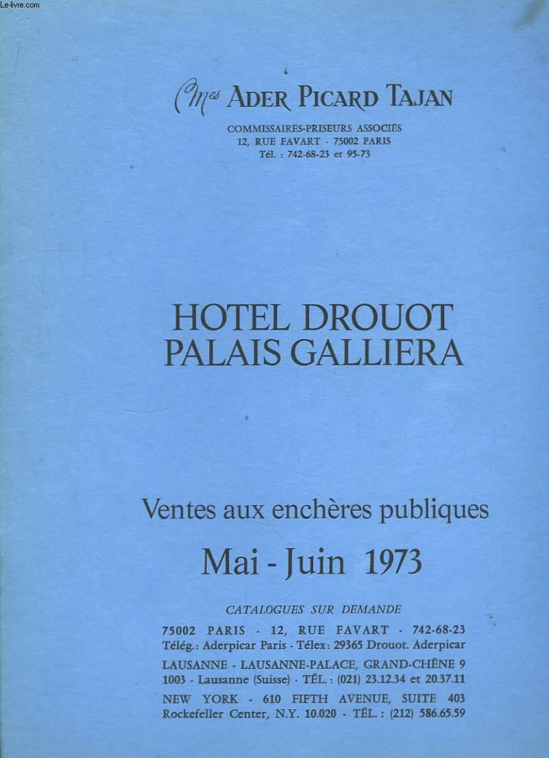 Catalogue de Ventes aux enchères publiques. Mai - Juin 1973