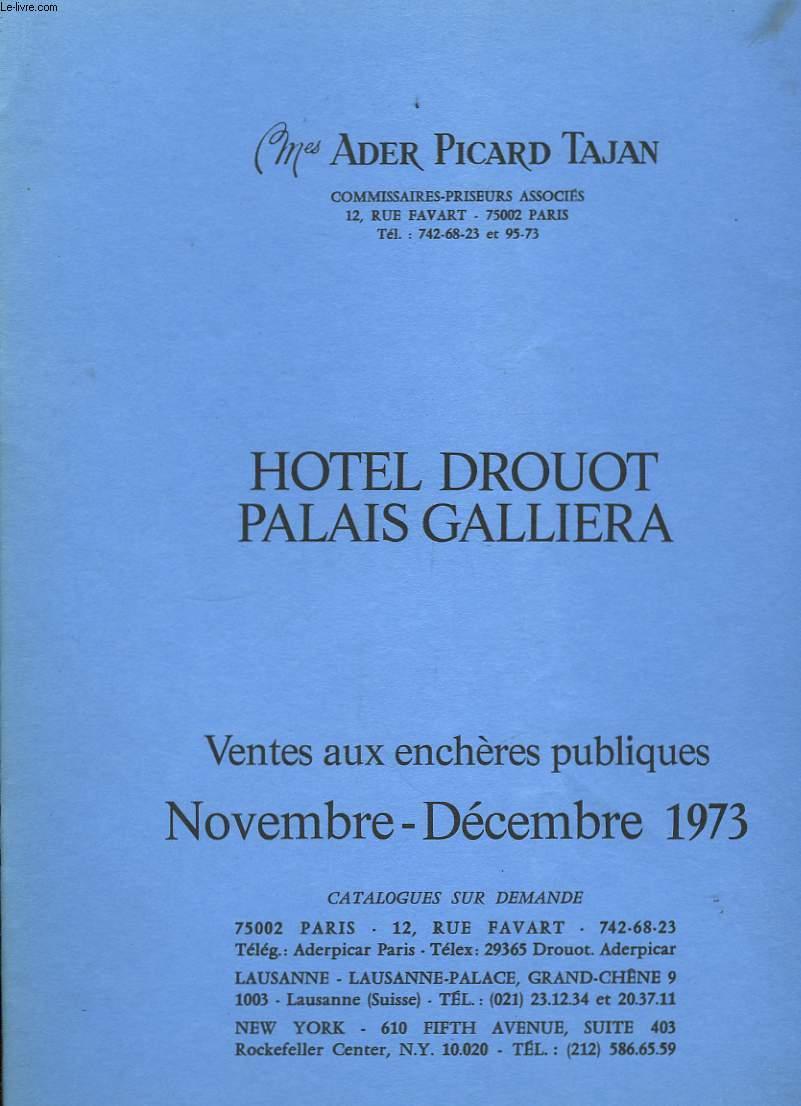 Catalogue de Ventes aux enchères publiques. Novembre - Décembre 1973