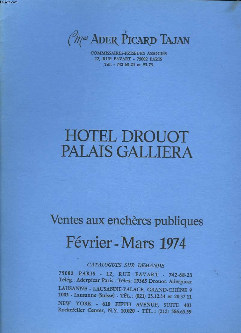 Catalogue de Ventes aux enchères publiques. Février - Mars 1974