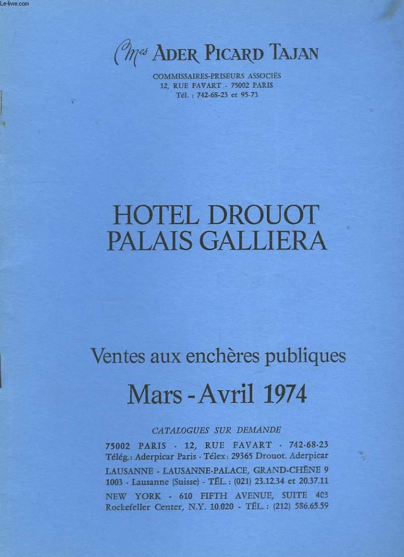 Catalogue de Ventes aux enchères publiques. Mars - Avril 1974