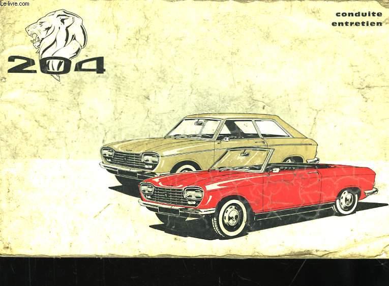 Notice d'entretien de la Peugeot 204.