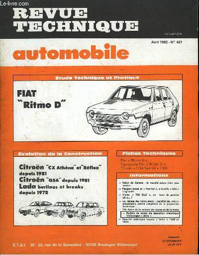 Revue Technique Automobile. N°421