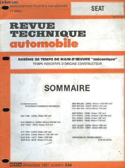 revue technique automobile suppl ment au n 534 seat. Black Bedroom Furniture Sets. Home Design Ideas
