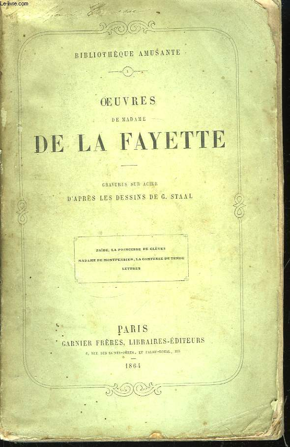 Oeuvres de Madame de La Fayette.
