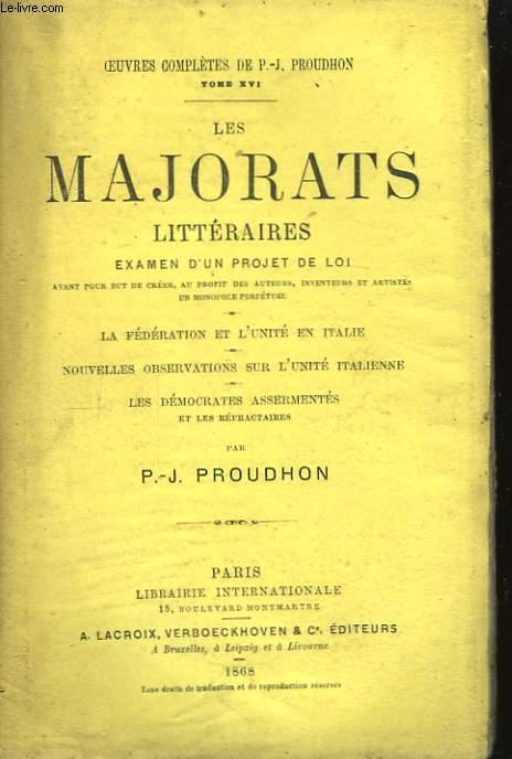 Les Majorats littéraires. Examen d'un projet de Loi.