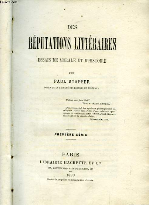 Les Réputations Littéraires. 1ère série.