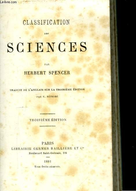 Classification des Sciences