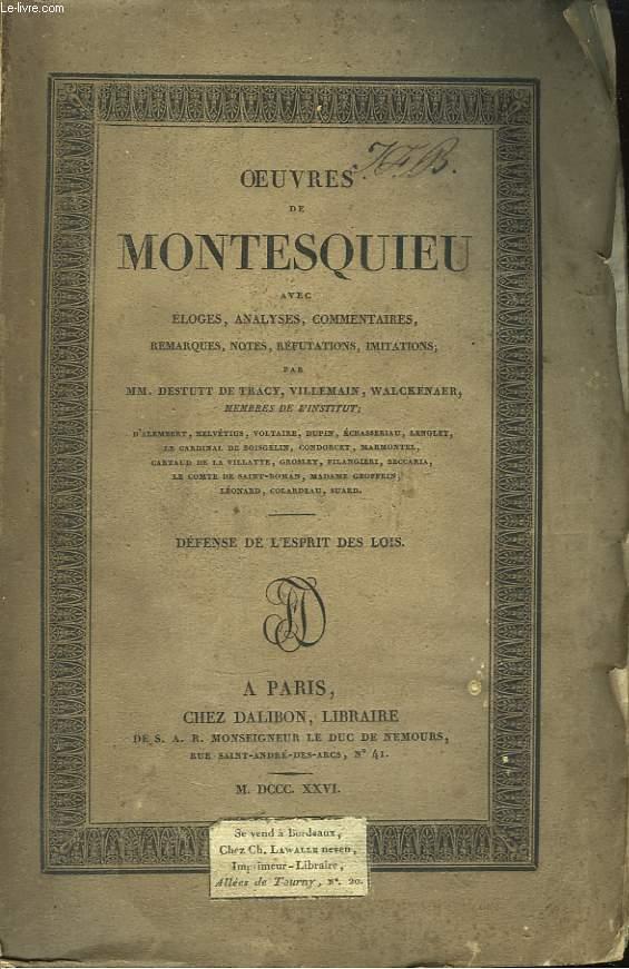 Oeuvres de Montesquieu. TOME IV : Défense de l'Esprit des Lois.