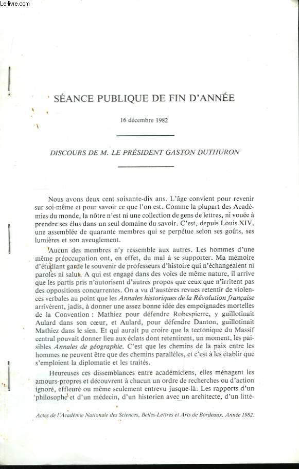 Discours. Séance publique du 16 décembre 1982
