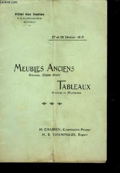 Catalogue de Vente aux Enchères de Meubles Anciens et Tableaux.