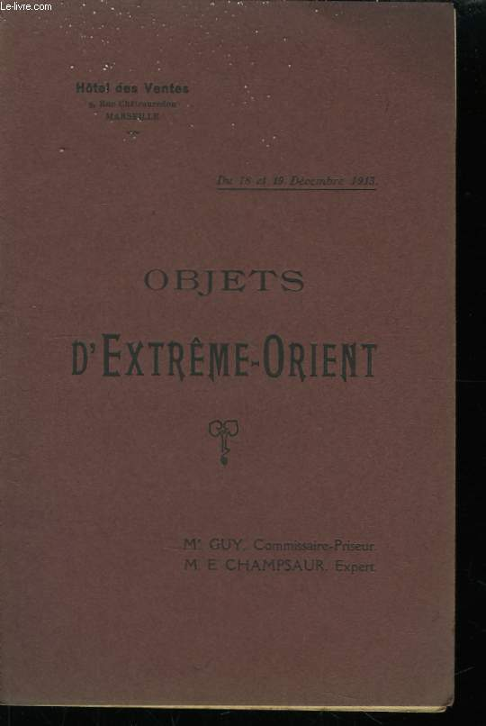 Catalogue des Objets d'Extrême-Orient.