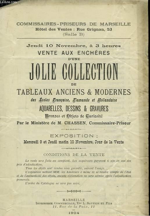 Catalogue d'une Vente aux Enchères d'une Jolie Collection de Tableaux  Anciens et Modernes.