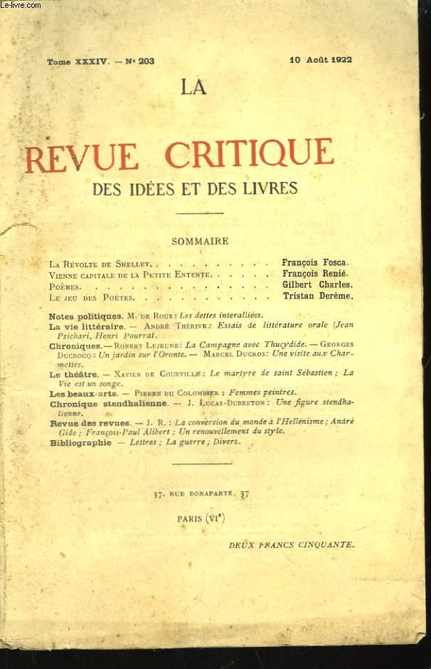 La Revue Critique des Idées et des Livres. TOME XXXIV, n°203