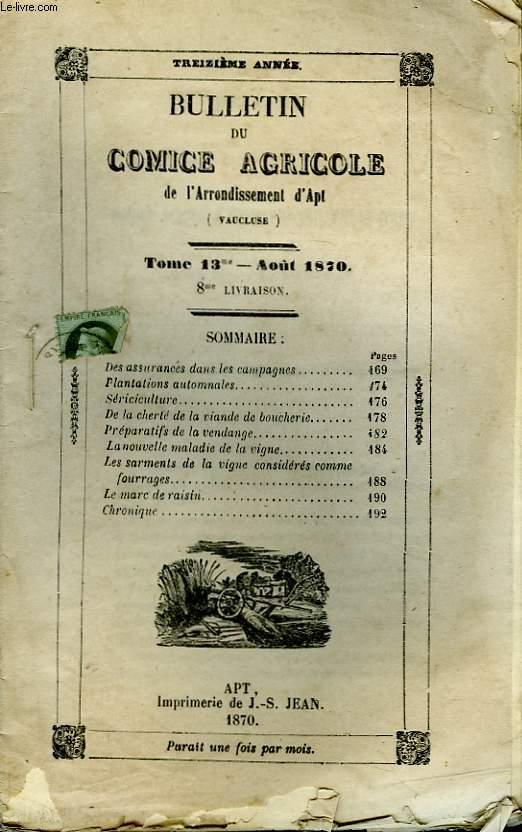 Bulletin du Comice Agricole de l'Arrondissement d'Apt (Vaucluse). TOME 13 - 8ème livraison.