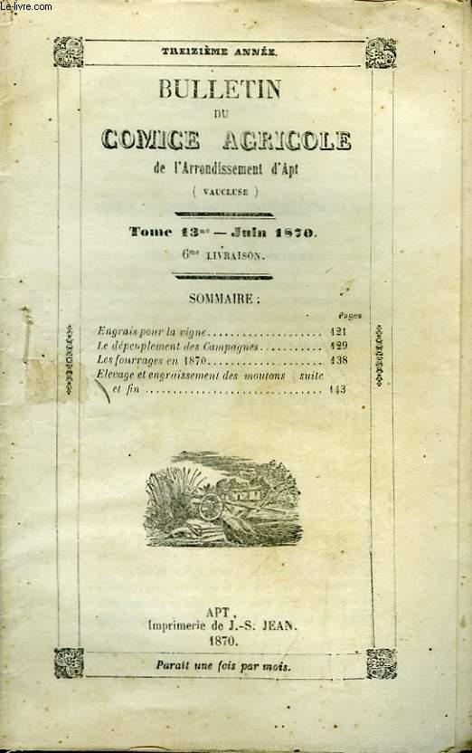 Bulletin du Comice Agricole de l'Arrondissement d'Apt (Vaucluse). TOME 13 - 6ème livraison.