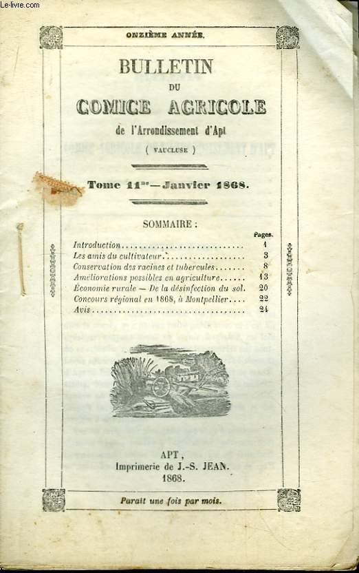 Bulletin du Comice Agricole de l'Arrondissement d'Apt (Vaucluse). TOME 11 - 1er livraison.
