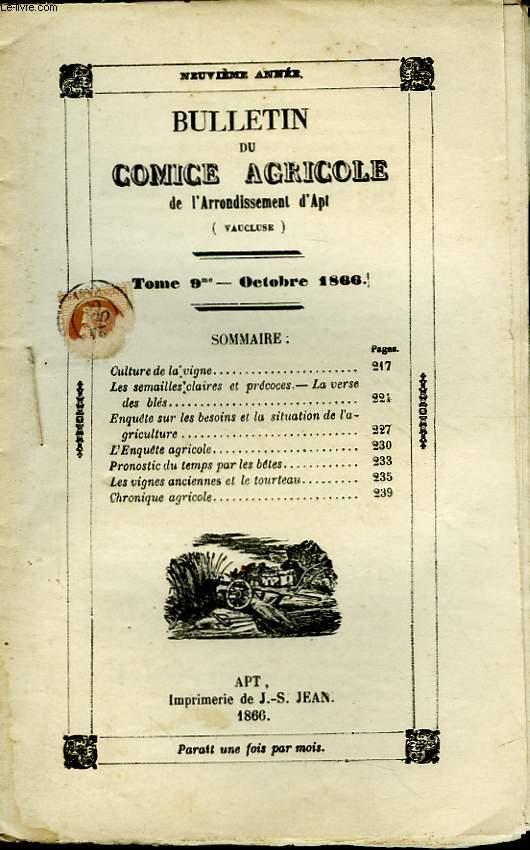 Bulletin du Comice Agricole de l'Arrondissement d'Apt (Vaucluse). TOME 9 - 10ème livraison.