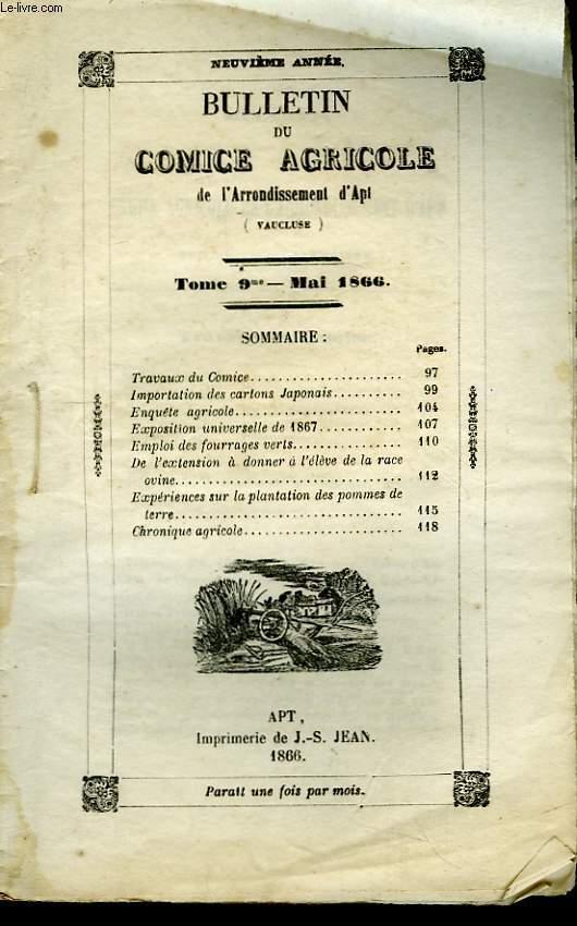 Bulletin du Comice Agricole de l'Arrondissement d'Apt (Vaucluse). TOME 9 - 5ème  livraison.