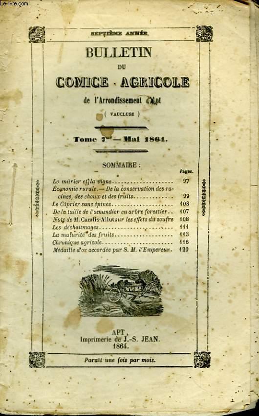 Bulletin du Comice Agricole de l'Arrondissement d'Apt (Vaucluse). TOME 7 - 5ème  livraison.