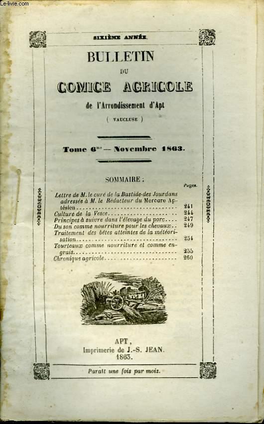 Bulletin du Comice Agricole de l'Arrondissement d'Apt (Vaucluse). TOME  6 - 11ème livraison.