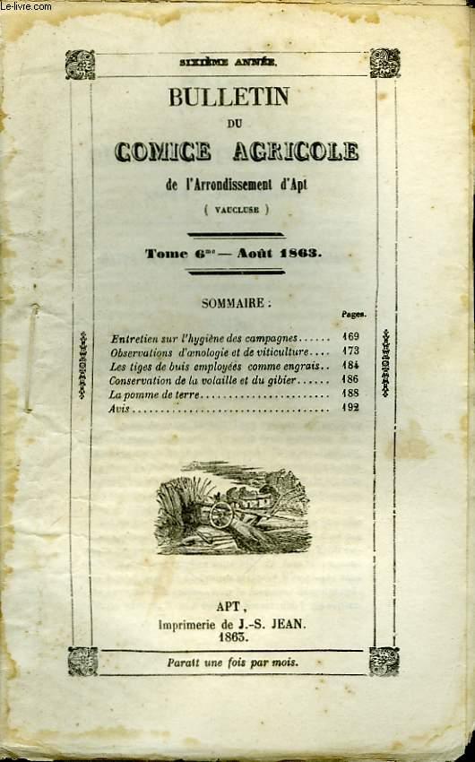 Bulletin du Comice Agricole de l'Arrondissement d'Apt (Vaucluse). TOME 6 - 8ème livraison.