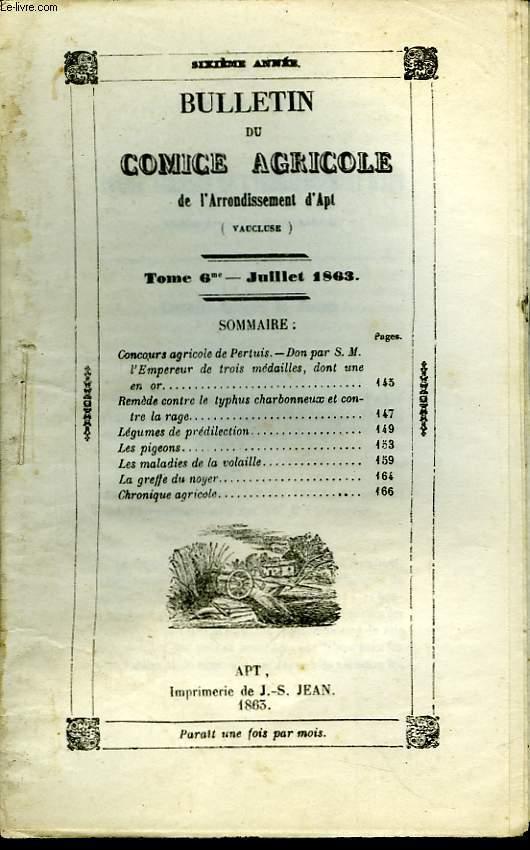 Bulletin du Comice Agricole de l'Arrondissement d'Apt (Vaucluse). TOME 6 - 7ème livraison.