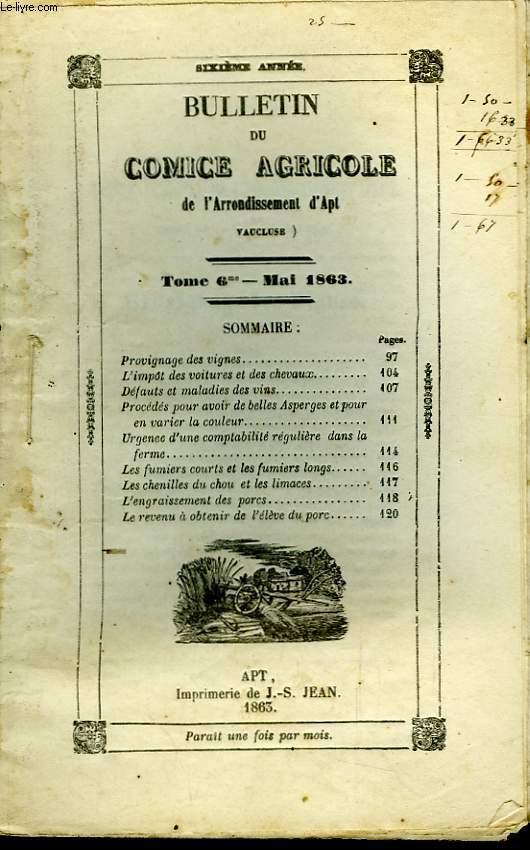 Bulletin du Comice Agricole de l'Arrondissement d'Apt (Vaucluse). TOME 6 - 5ème livraison.