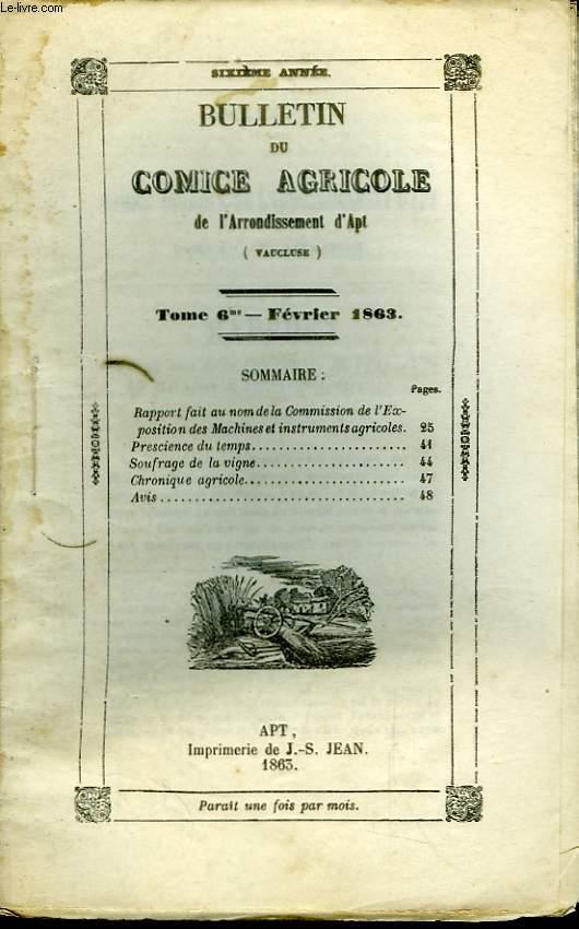 Bulletin du Comice Agricole de l'Arrondissement d'Apt (Vaucluse). TOME  6 - 2ème livraison.
