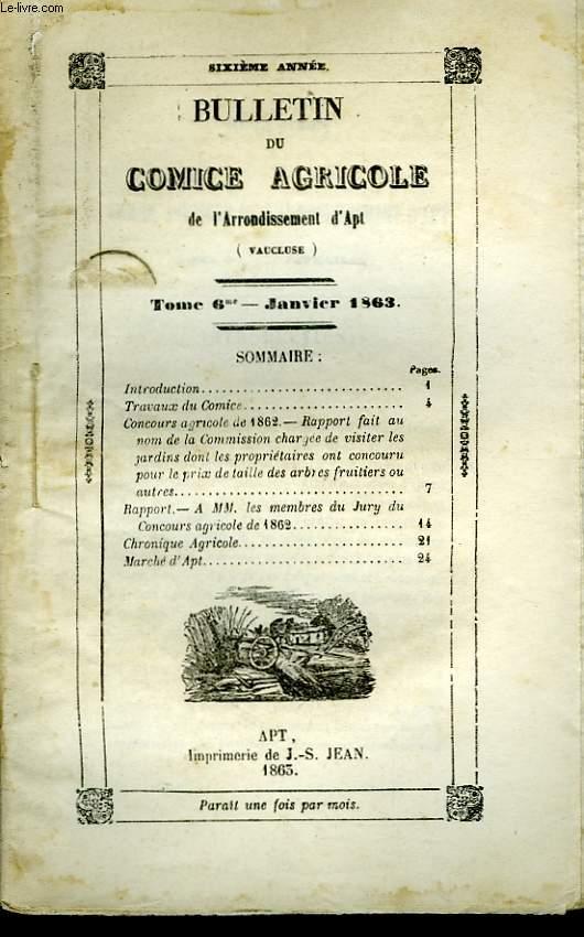 Bulletin du Comice Agricole de l'Arrondissement d'Apt (Vaucluse). TOME 6 - 1ère livraison.