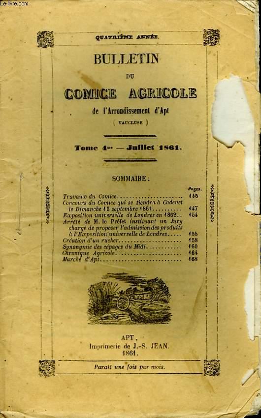 Bulletin du Comice Agricole de l'Arrondissement d'Apt (Vaucluse). TOME 4 - 7ème livraison.