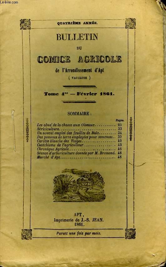 Bulletin du Comice Agricole de l'Arrondissement d'Apt (Vaucluse). TOME 4 - 2ème livraison.