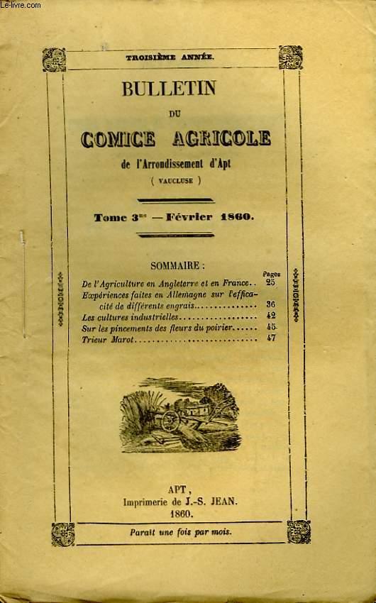 Bulletin du Comice Agricole de l'Arrondissement d'Apt (Vaucluse). TOME  3 - 2ème livraison.