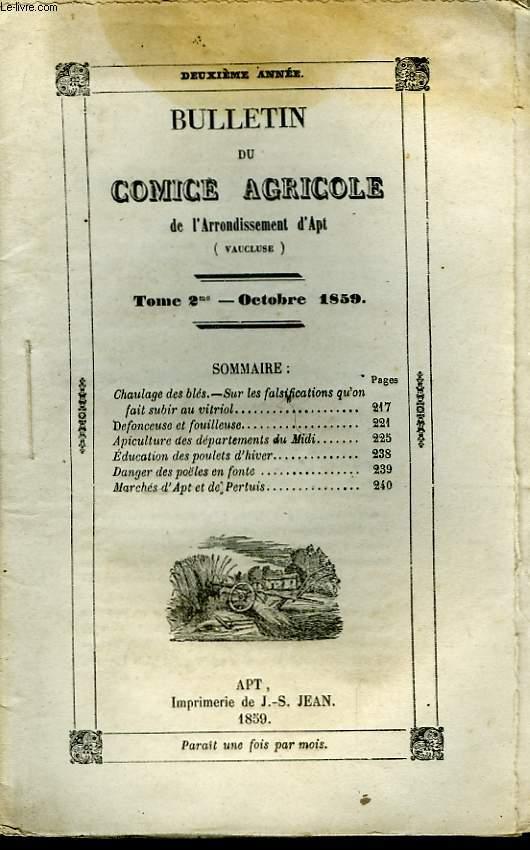 Bulletin du Comice Agricole de l'Arrondissement d'Apt (Vaucluse). TOME 2 - 10ème livraison.