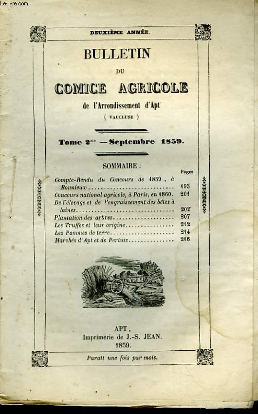 Bulletin du Comice Agricole de l'Arrondissement d'Apt (Vaucluse). TOME  2 - 9ème livraison.