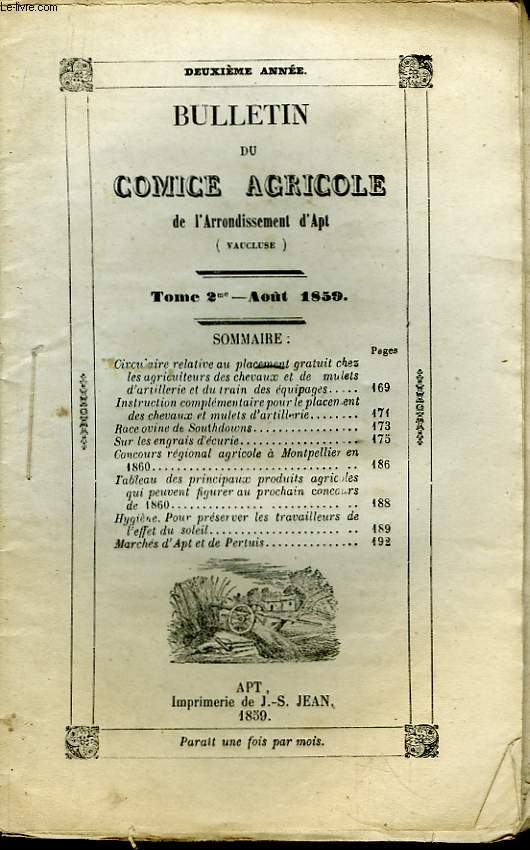 Bulletin du Comice Agricole de l'Arrondissement d'Apt (Vaucluse). TOME  2 - 8ème livraison.