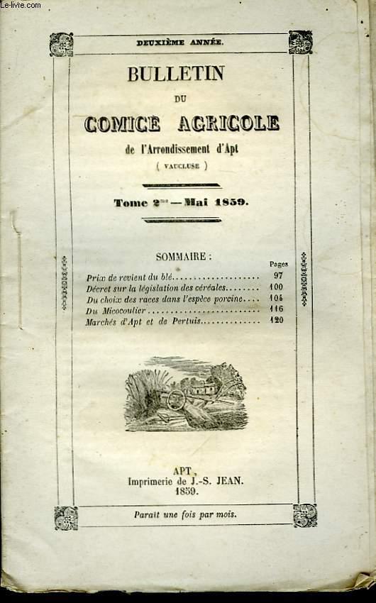 Bulletin du Comice Agricole de l'Arrondissement d'Apt (Vaucluse). TOME  2 - 5ème livraison.