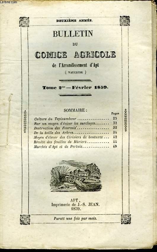 Bulletin du Comice Agricole de l'Arrondissement d'Apt (Vaucluse). TOME 2 - 2ème livraison.