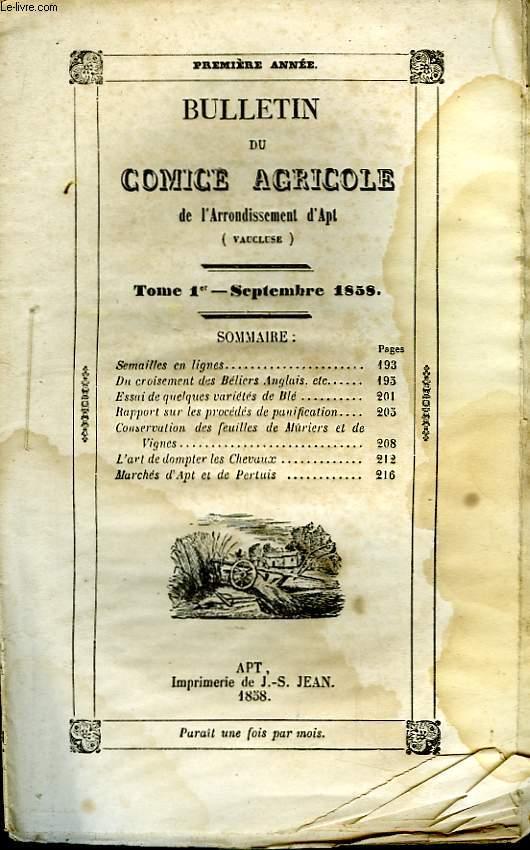 Bulletin du Comice Agricole de l'Arrondissement d'Apt (Vaucluse). TOME 1er - 9ème livraison.