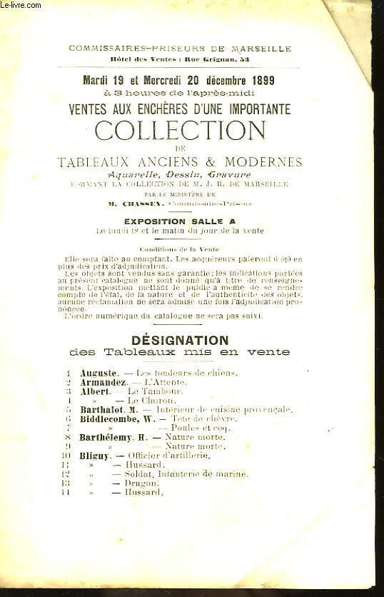 Ventes aux enchères d'une importante collection de Tableaux Anciens et Modernes, Aquarelles, Dessin et Gravure formant la collection de M. J.R. de Marseille.