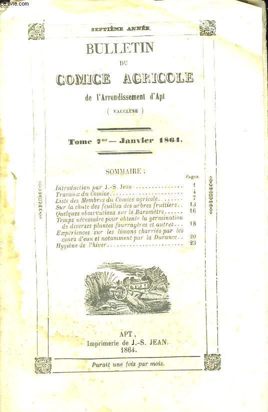 Bulletin du Comice Agricole de l'Arrondissement d'Apt (Vaucluse). TOME  7 - 1ère livraison.